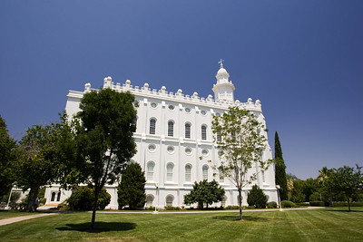 St. George LDS Temple in Utah, side view, one of the few LDS buildings with a cross.