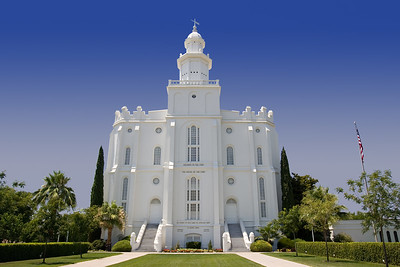 St. George, LDS temple in Utah, front view.