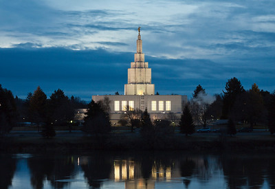 Idaho Falls LDS Temple. Made from my hotel room last week at the Hilton Garden Inn in Idaho Falls. Our room looked out over the river and this Mormon Temple was right across. This is a morning image around 6:30 AM. I have some HDR versions from the night before I will also post here.