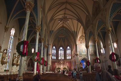 Catholic church in Savana, GA at Christmas