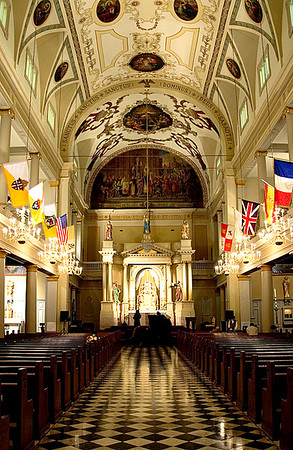 Ornate ceiling art and floors of the Historical St. Louis Cathedral on Jackson Square, in New Orleans, Louisiana