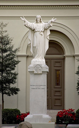 Christ Statue at the Historical St. Louis Cathedral on Jackson Square, in New Orleans, Louisiana