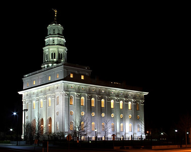 Nauvoo LDS Temple in Illinois after dark