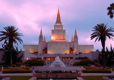 Oakland, CA LDS Temple just before dusk, fully lit