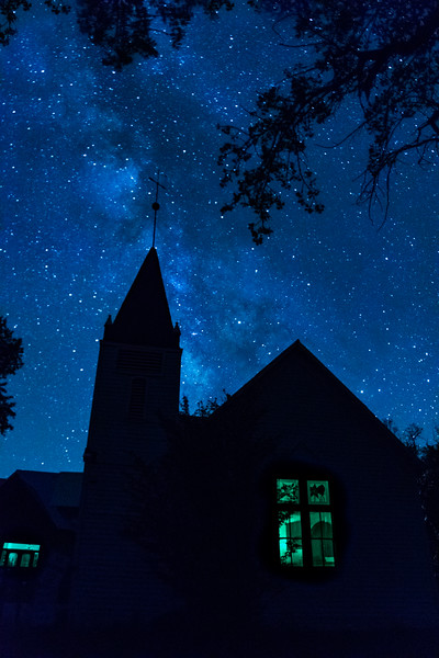 Florida Mesa Presbyterian Church with Milky Way