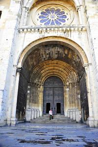 Lisbon, Portugal:  Cathedral, exterior, entrance door