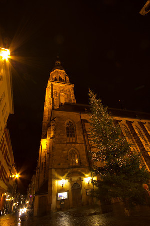 Germany, Heidelburg, Church at Night SNM