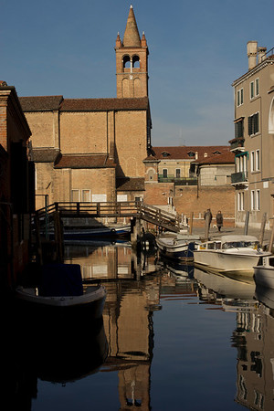 Italy, Venice, Church Reflection on Canal SNM