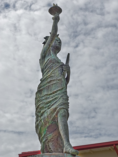 Statue of Liberty Lifted by Soldiers
