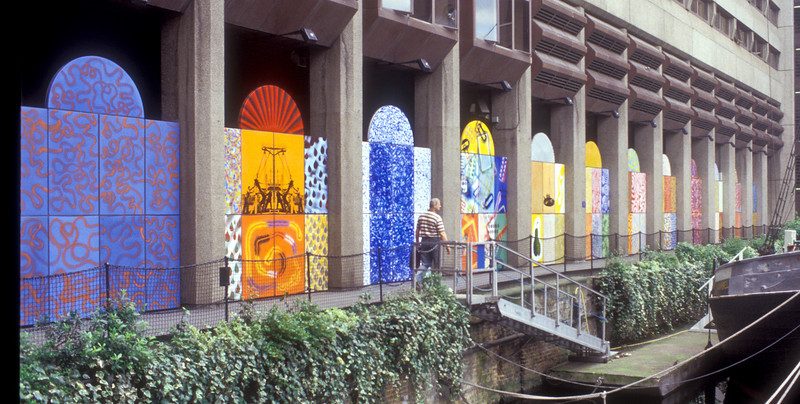 Murals at St. Katherine's Wharf I think. 35mm film scan from 2004.