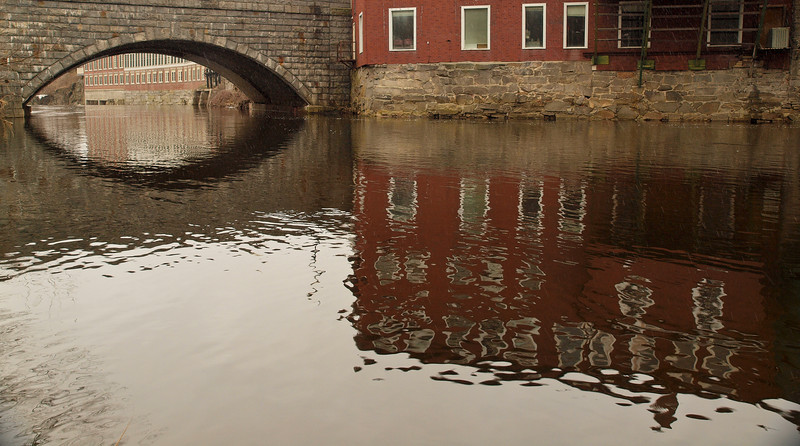 Reflections on a cloudy day - Stony Brook (Souhegan River), Milford NH - if you look closely you can see snow flying.