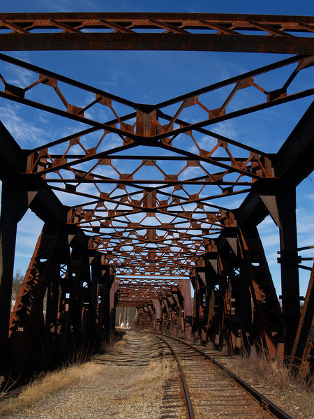 Railroad bridge overhead<br /> Hooksett, NH<br /> December 2009