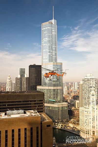 Erickson Air Crane Helicoptor Pick at Hyatt in Chicago
