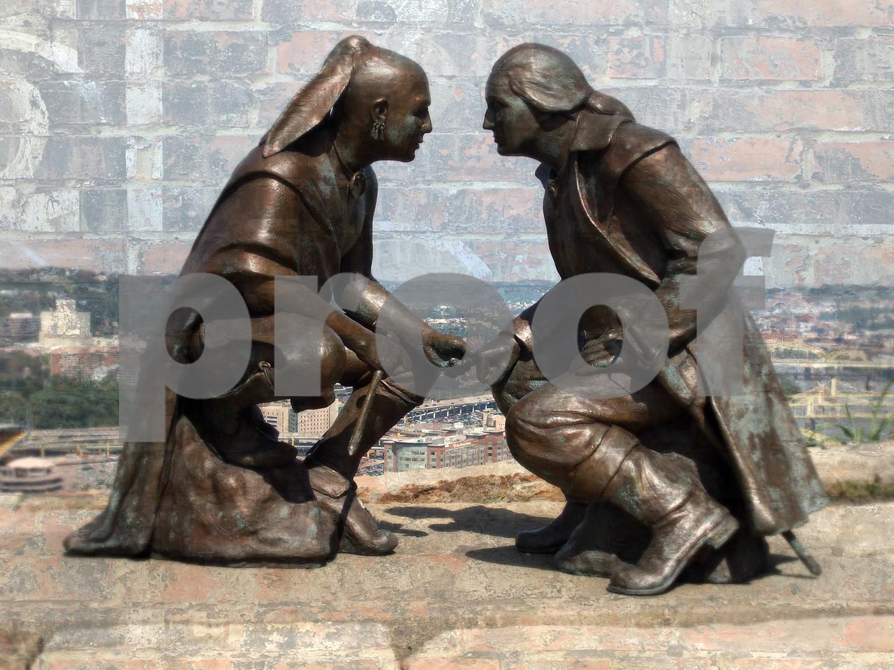 Sculpture by James A. West depicts October 1770 meeting between Seneca Leader & George Washington