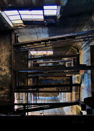 'Vertigo' - looking up inside Concrete Central Elevator, Buffalo, NY