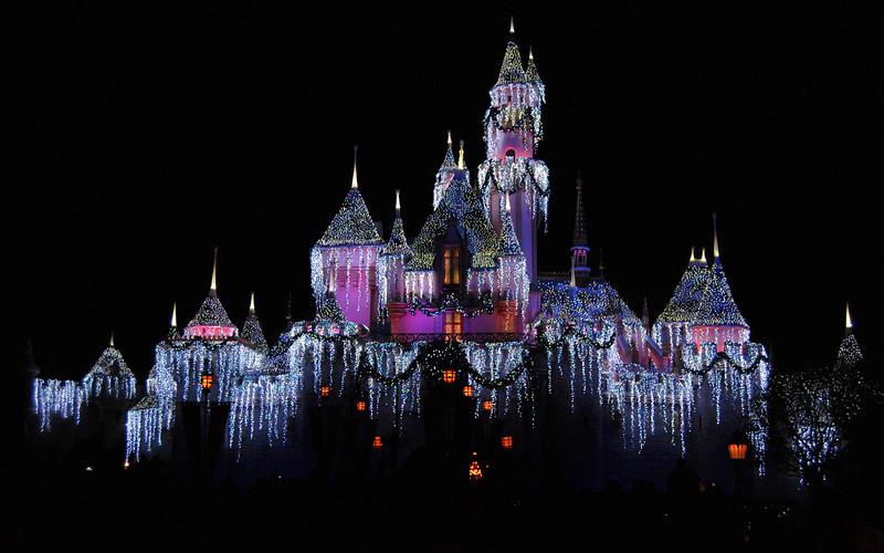 Disney Castle Decked in Christmas Lights