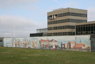 Power Station office block with mural on the boundary wall.
