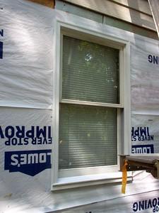 Window with new PVC trim.