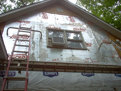 Day 10 - New gable end vent installed.