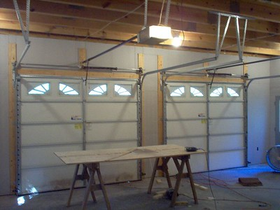 Garage doors all trimmed out.