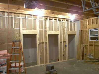 Division wall framing showing doors