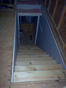 Stairs looking down from the bonus room