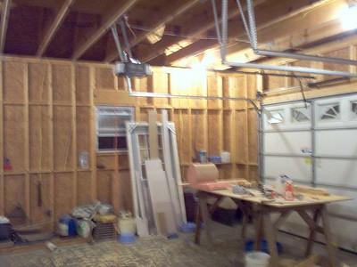 West interior wall of garage