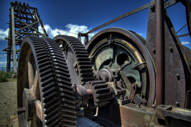 Gear drive for the cable lift at the American Eagles Gold Mine in Victor Colorado.