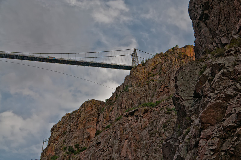 A view of the amazing Royal Gorge suspension bridge, over 1000 feet above the canyon floor.