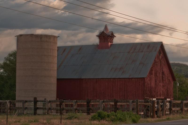 A beautiful Colorado barn and silo near the town of Sedalia, Colorado