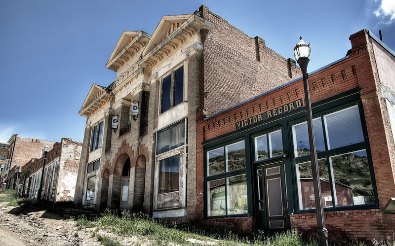 The Masonic Lodge and newspaper office from long ago in the gold mining town of Victor, Colorado.