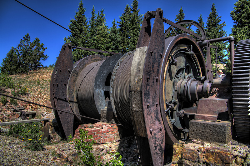 Spooling wheels with wooden brake pads for the cable lift at the American Eagles Gold Mine in Victor, Colorado.