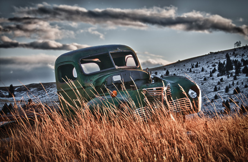 A truck from years ago sitting in a field in the gold mining town of Victor, Colorado.