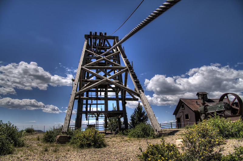 The headframe, buckets and lifting cable for the American Eagles Gold Mine in Victor, Colorado.