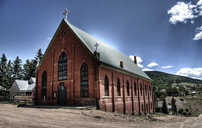 The St. Victor Catholic Church in downtown Victor, Colorado.