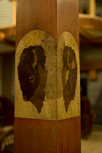 Lobby: column with bison heads