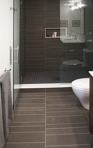 Bathroom: shower with random slate walls