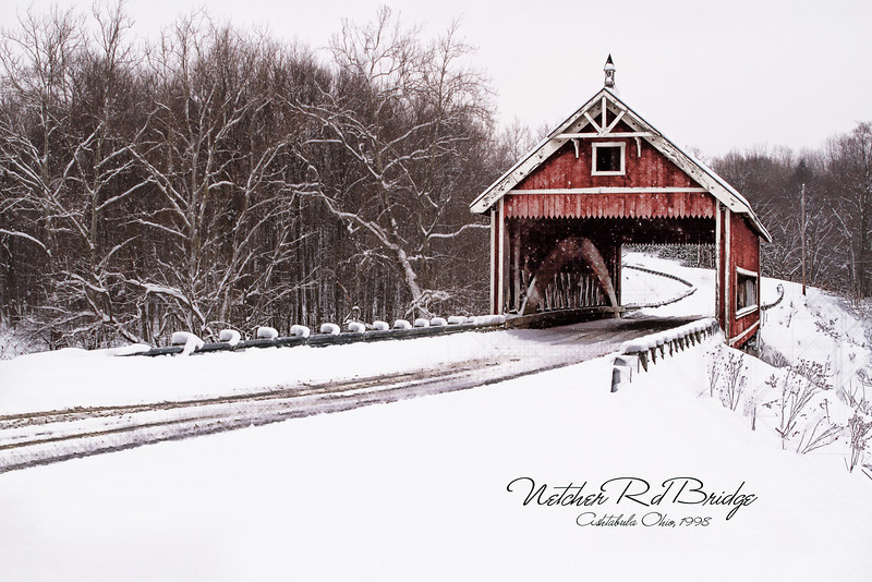 "Netcher Rd. Bridge, Ashtabula Ohio<br /> The bridge is constructed over Mill Creek in Jefferson Township, and it features a timber arch with inverted Haupt walls. The ""Neo Victorian"" design structure is 110 feet long, 22-feet wide, and 14-feet, six inches high. Construction started in 1998, and it was funded by an ODOT Timber Grant."