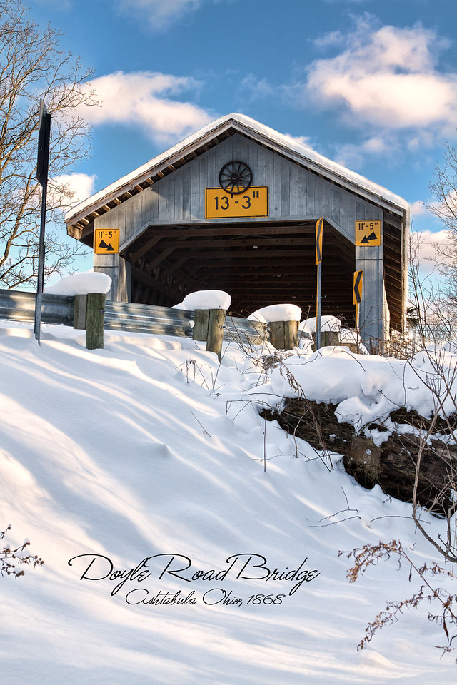 Doyle Road<br /> A 94-foot long Town lattice bridge built in 1868. Doyle spans Mill Creek. Mill Creek is a tributary of the Grand River. This bridge was renovated in 1987 when a laminated arch was added.