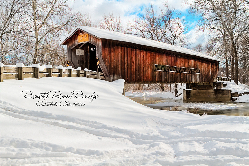 Benetka Road Bridge<br /> A 138-foot Town lattice with Arch bridge, Benetka was built about 1900 spanning the Ashtabula River. It was renovated in 1985. A laminated arch 9-inches wide and 38-inches thick was added to the length of the bridge.