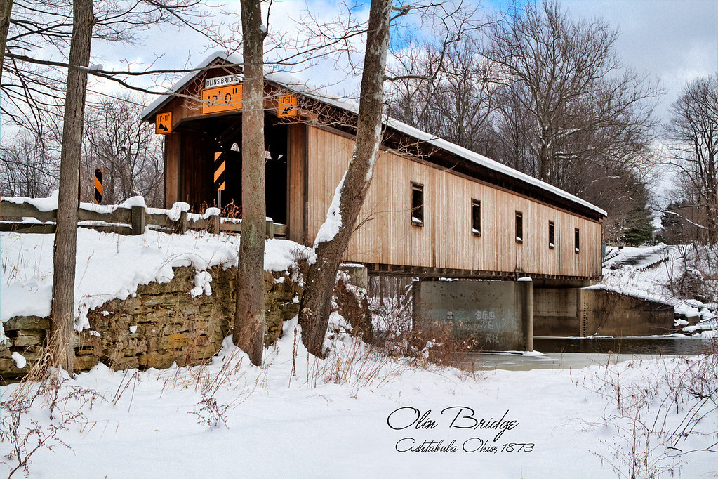 Olin Bridge<br /> Located on Dewey Road in Plymouth Township, Olin is the only bridge named for a family. The Olin's have owned property next to the bridge since it was built in 1873. The 115 foot Town lattice structure over the Ashtabula River was renovated in 1985.