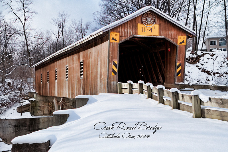 Creek Road Bridge <br /> The construction date of this 125-foot Town lattice bridge is unknown. It sits 25 feet above the Conneaut Creek and was extensively renovated in 1994.