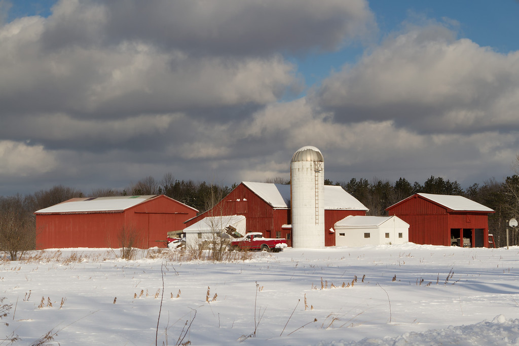 """On the way to Doyle Road Bridge this Red barn and Silo caught my attention.  This is what """"photographers"""" call a drive by shooting."""