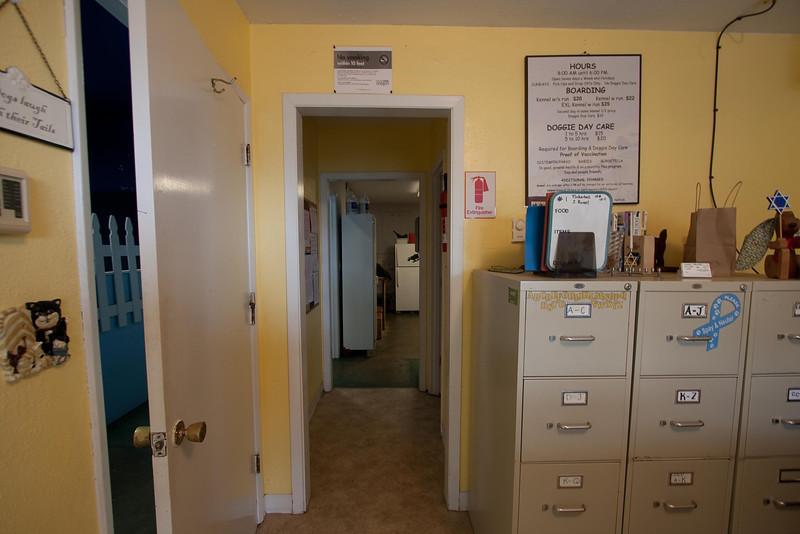 "lobby to: daycare, bathroom & ""utility"" area/backroom"