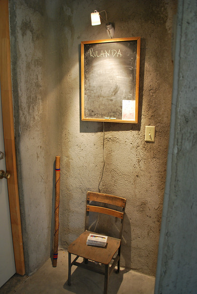the chalkboard is for guests to leave their names - note the small chair from a school