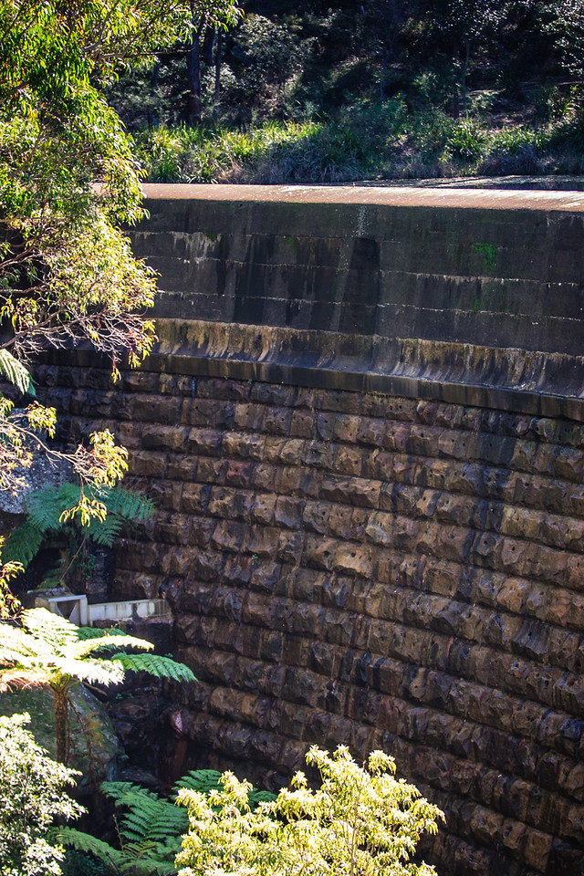 Sydney, Australia<br /> Hunt's creek was dammed in 1855-56, forming Lake Parramatta. Masonry wall designed by Lt Percy Simpson; land supplied by orchardist James Pye.
