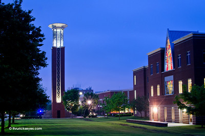 The bell tower from the Belmont Boulevard side of campus.