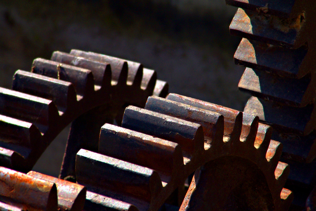 Machinery from the old knitting mill, now ruins, in Logan, Utah