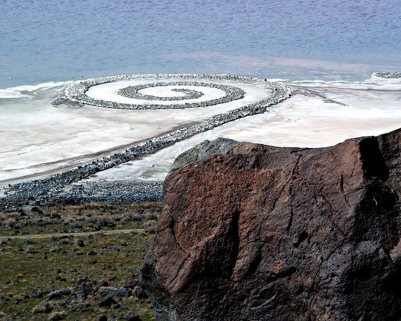 The Spiral Jetty, an artwork in the Great Salt Lake by Robert Smithson