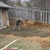 Dan spreading the gravel.
